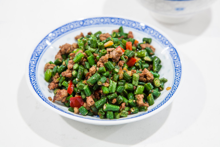 Chinese Long Beans with Pickled Chili Peppers - Completed Dish