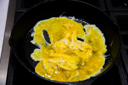 Okra Shrimp Fried Rice with Sha Cha Sauce - preparation