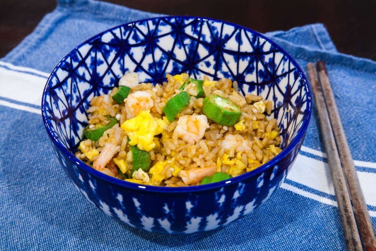 Okra Shrimp Fried Rice with Sha Cha Sauce - Completed dish